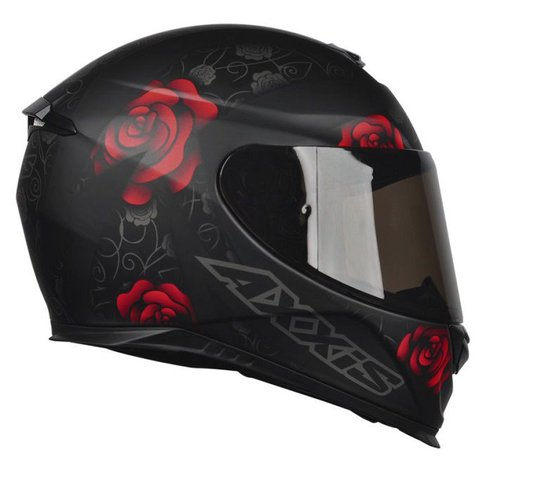 Capacete Axxis Eagle Flowers Matt Black/Red Fosco