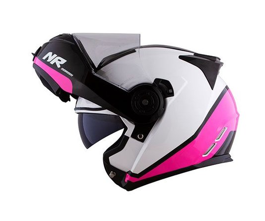 Capacete Norisk Route FF345 Chance Gloss Branco/Pink